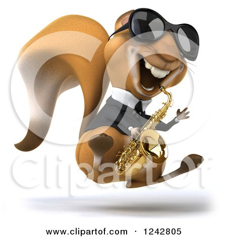 Clipart of a 3d Musician Squirrel Wearing Shades, Hopping and Playing a Saxophone 2 - Royalty Free Illustration by Julos