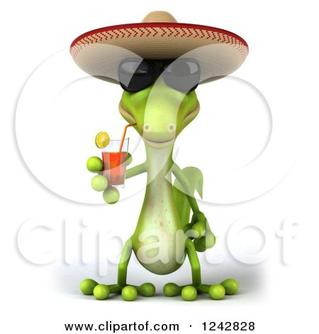 Clipart of a 3d Mexican Gecko Drinking Tea and Wearing a Sombrero Hat - Royalty Free Illustration by Julos