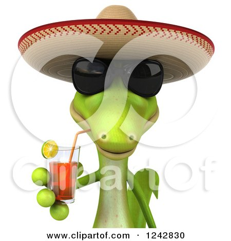 Clipart of a 3d Mexican Gecko Drinking Tea and Wearing a Sombrero Hat 3 - Royalty Free Illustration by Julos