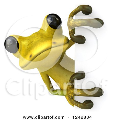 Clipart of a 3d Yellow and Green Ribbit Frog Looking Around a Sign - Royalty Free Illustration by Julos