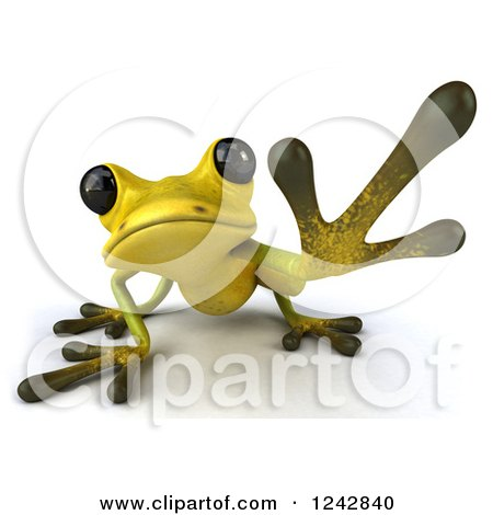 Clipart of a 3d Yellow and Green Ribbit Frog Reaching - Royalty Free Illustration by Julos