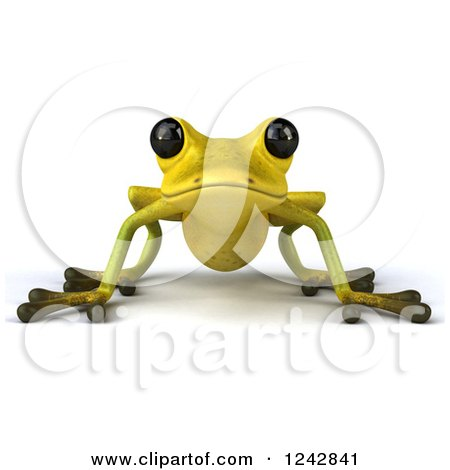 Clipart of a 3d Yellow and Green Ribbit Frog - Royalty Free Illustration by Julos