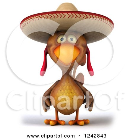 Clipart of a 3d Mexican Chicken Wearing a Sombrero Hat - Royalty Free Illustration by Julos