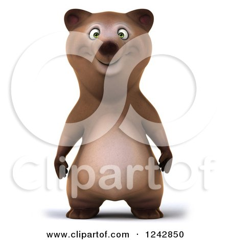 Clipart of a 3d Happy Brown Bear - Royalty Free Illustration by Julos