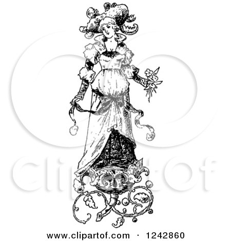 Clipart of a Vintage Black and White Bride with Floral Designs - Royalty Free Vector Illustration by BestVector