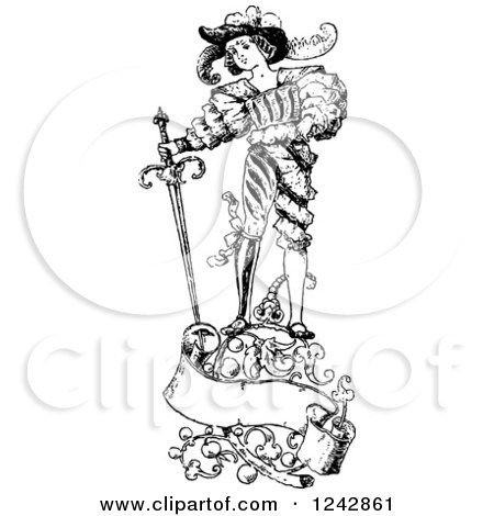 Clipart of a Vintage Black and White Groom and Sword with Floral Designs and a Banner - Royalty Free Vector Illustration by BestVector