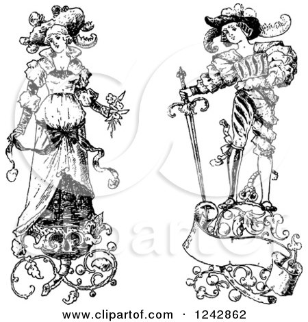 Clipart of a Vintage Black and White Bride and Groom with Floral Designs - Royalty Free Vector Illustration by BestVector