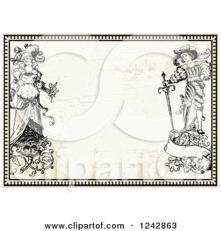 Clipart of a Vintage Bride and Groom with Floral Designs in a Border over Vintage Paper - Royalty Free Vector Illustration by BestVector