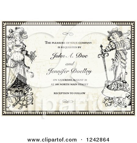 Clipart of a Vintage Bride and Groom in a Border over Vintage Paper with Sample Text - Royalty Free Vector Illustration by BestVector