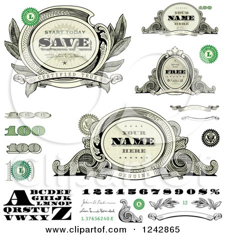 Clipart of Alphabet, Number, and Money Design Elements - Royalty Free Vector Illustration by BestVector