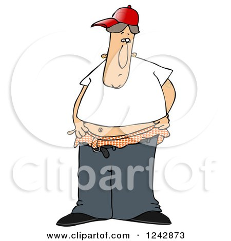 Clipart of a Young Caucasian Man Trying to Pull His Pants up over His Boxers - Royalty Free Illustration by djart
