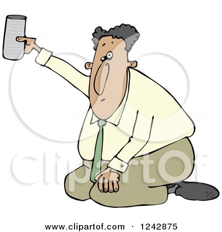 Clipart of a Hispanic Businessman Kneeling on the Ground and Begging with a Cup - Royalty Free Vector Illustration by djart