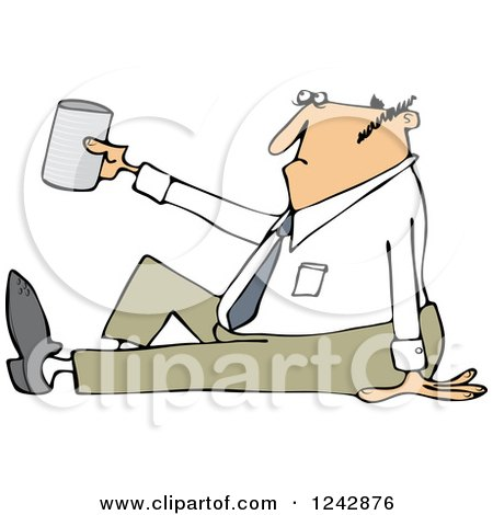 Clipart of a Caucasian Businessman Sitting on the Ground and Begging with a Cup - Royalty Free Vector Illustration by djart