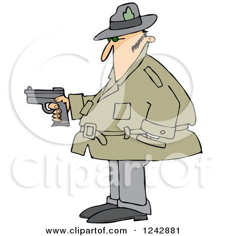 Clipart of a Chubby Caucasian Private Investigator Man Holding a Pistol - Royalty Free Vector Illustration by djart