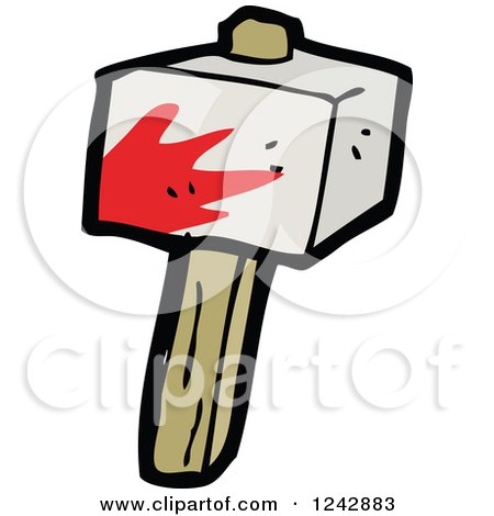 Clipart of a Bloody Club - Royalty Free Vector Illustration by lineartestpilot