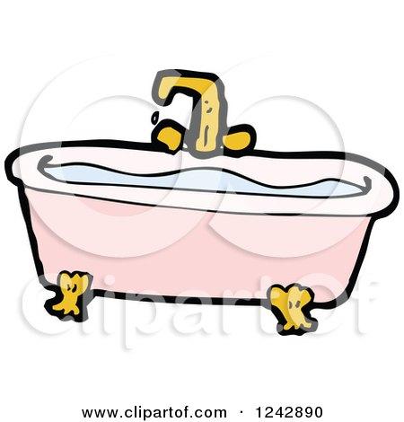 Cartoon Of A Claw Foot Bathtub Royalty Free Vector