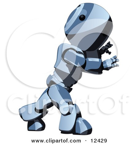 Blue Metal Robot Pushing With All His Strength Clipart Illustration by Leo Blanchette