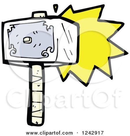 Clipart of a Stone Hammer Hitting - Royalty Free Vector Illustration by lineartestpilot