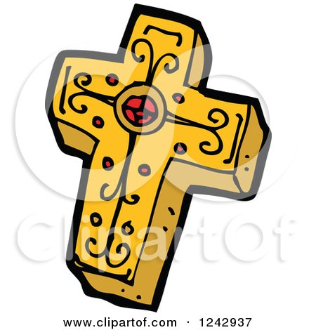 Clipart of a Gold and Red Christian Cross - Royalty Free Vector Illustration by lineartestpilot