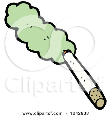 Clipart of a Cigarette with Green Smoke - Royalty Free Vector Illustration by lineartestpilot
