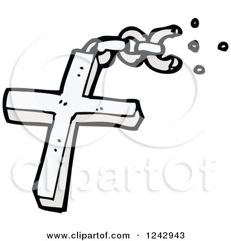 Clipart of a Christian Cross Pendant and Broken Chain - Royalty Free Vector Illustration by lineartestpilot