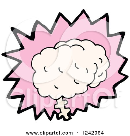 Clipart of a Brain over a Pink Burst - Royalty Free Vector Illustration by lineartestpilot