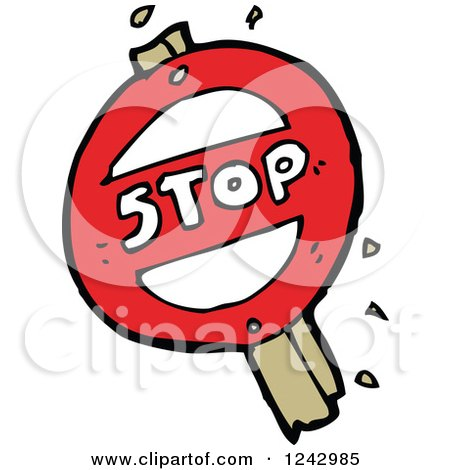 Clipart of a Round Broken Stop Sign - Royalty Free Vector Illustration by lineartestpilot