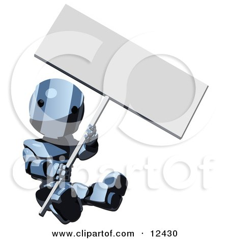 Blue Metal Robot Clipart Sitting on the Ground and Holding a Blank Sign Illustration by Leo Blanchette