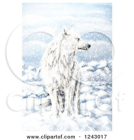 Clipart of a White Wolf in the Snow - Royalty Free Illustration by lineartestpilot