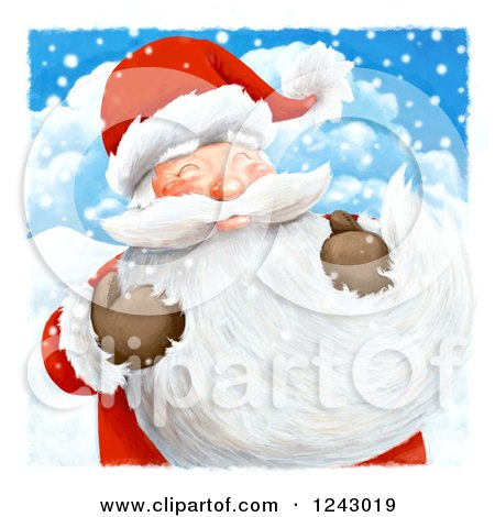 Clipart of Santa Claus Holding His Long Beard in the Snow - Royalty Free Illustration by lineartestpilot