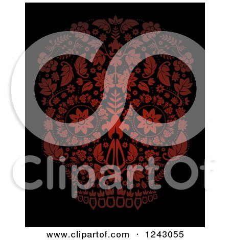 Clipart of a Floral Red Day of the Dead Skull on Black - Royalty Free Vector Illustration by lineartestpilot