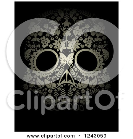 Clipart of a Floral Day of the Dead Skull on Black - Royalty Free Vector Illustration by lineartestpilot