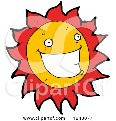 Clipart of a Happy Sun - Royalty Free Vector Illustration by lineartestpilot