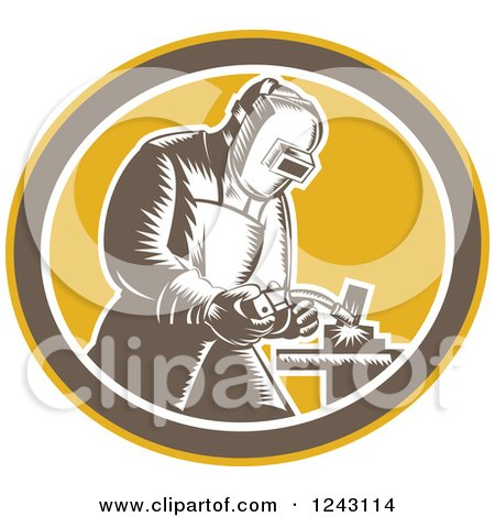 Clipart of a Retro Woodcut Welder in an Oval - Royalty Free Vector Illustration by patrimonio