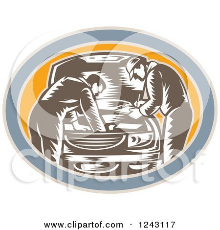 Clipart of Retro Woodcut Car Mechanics Working on an Engine in an Oval - Royalty Free Vector Illustration by patrimonio