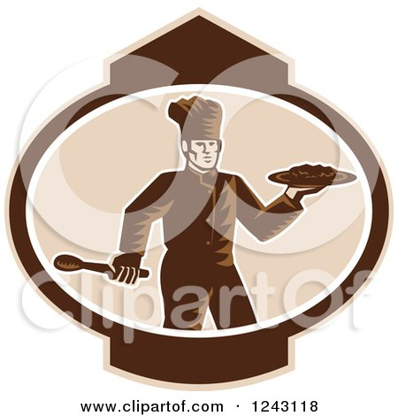 Clipart of a Retro Woodcut Male Chef Holding Food on a Platter in an Oval - Royalty Free Vector Illustration by patrimonio