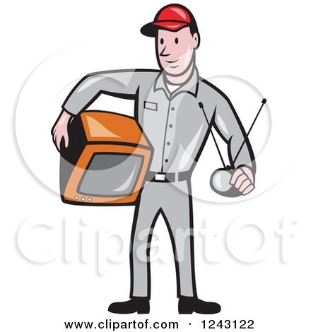 Clipart of a Cartoon Male Television Technician Holding a Tv and Antenna - Royalty Free Vector Illustration by patrimonio