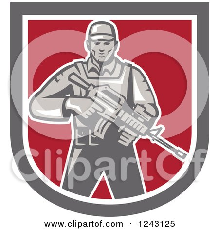 Clipart of a Retro Male Soldier Holding an Assault Rifle in a Shield - Royalty Free Vector Illustration by patrimonio