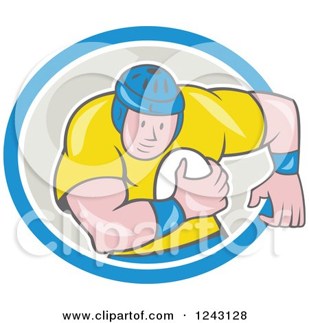 Clipart of a Cartoon Male Rugby Player Running with a Ball in an Oval - Royalty Free Vector Illustration by patrimonio