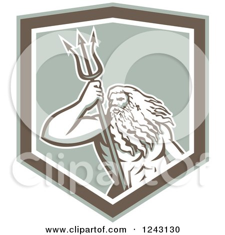 Clipart of a Roman Sea God, Neptune or Poseidon, with a Trident in a Shield - Royalty Free Vector Illustration by patrimonio