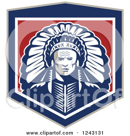 Clipart of a Retro Native American Indian Chief with a Feather Headdress in a Shield - Royalty Free Vector Illustration by patrimonio