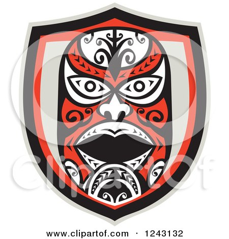 Clipart of a Tribal Maori Mask Shield - Royalty Free Vector Illustration by patrimonio