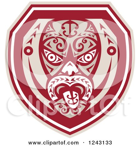Clipart of a Tribal Maori Mask with a Tongue Shield - Royalty Free Vector Illustration by patrimonio