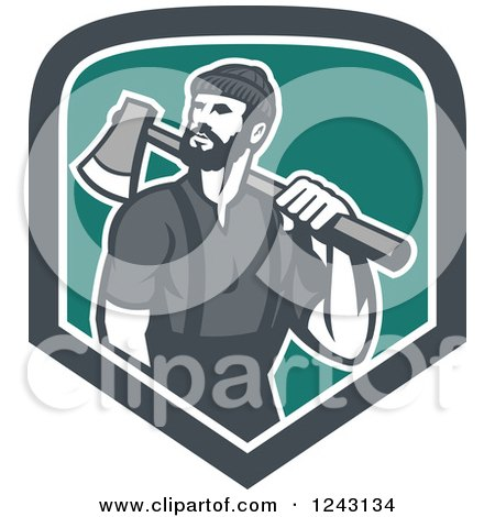 Clipart of a Male Lumberjack with an Axe in a Shield - Royalty Free Vector Illustration by patrimonio