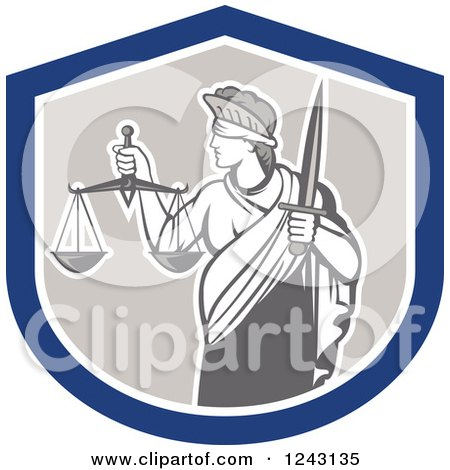 Clipart of a Retro Lady Justice with a Sword and Scales in a Shield - Royalty Free Vector Illustration by patrimonio
