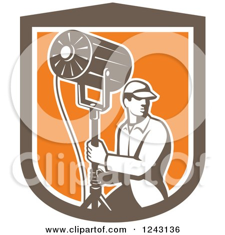 Clipart of a Retro Male Stage Worker Moving a Lighting Stand in a Shield - Royalty Free Vector Illustration by patrimonio