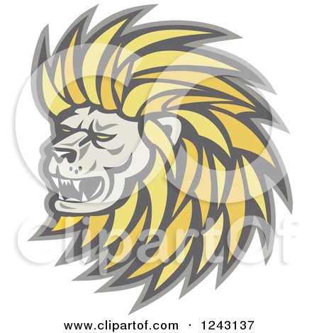 Clipart of a Growling Male Lion Head - Royalty Free Vector Illustration by patrimonio