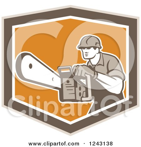 Clipart of a Retro Arborist Using a Chainsaw in an Orange and Brown Shield - Royalty Free Vector Illustration by patrimonio