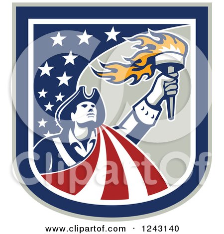 Clipart of a Retro Male American Patriot with a Torch in a Stars and Stripes Shield - Royalty Free Vector Illustration by patrimonio