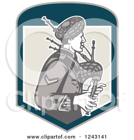 Clipart of a Retro Scotsman Playing Bagpipes in a Shield - Royalty Free Vector Illustration by patrimonio